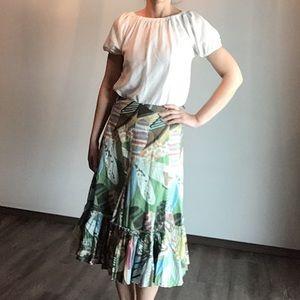 anthropologie FEI colorful cotton skirt M (K9)